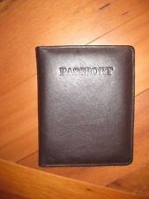 BROWN Leather Embossed COVER Organizer Travel Wallet ID Holder