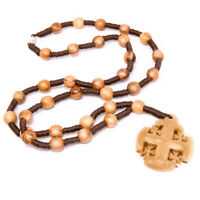 "Olive Wood Rosary Beads Necklace Pendant with Jerusalem Cross from Bethlehem 14"""