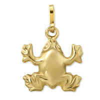 14K Yellow Gold Frog Pendant Animal Charm
