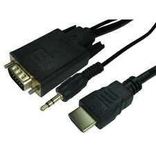 1.8m HDMI - SVGA Cable + Audio AUX Jack Digital to Analogue AV Monitor Lead GOLD