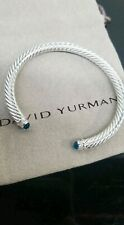 David Yurman Sterling Silver Blue Topaz & Diamond  5MM Cable Classic Bracelet