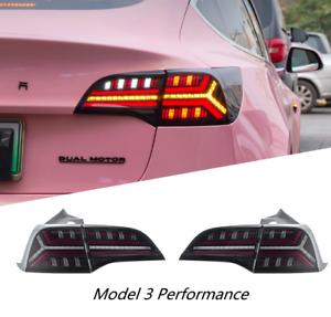 LED Tail Lights For Tesla Model 3 2017-2021 Rear Lamp 4PCS Assembly Turn Signal