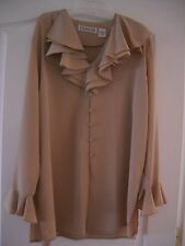 DESIGNER CHAUS RUFFLED COLLAR AND CUFF BLOUSE-BRAND NEW!