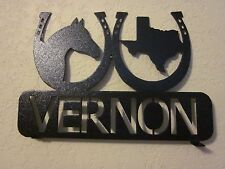 HORSESHOES HORSE TEXAS MAILBOX TOPPER STEEL TEXTURED BLACK POWDER COAT FINISH
