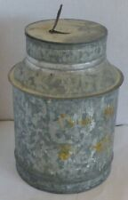 "Vintage Small Galvanized Metal Milk Can Container Rustic Kitchen Decor 6"" high"