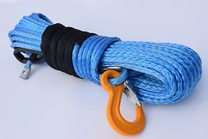 """3/8""""*100ft Blue Synthetic Winch Cable,Tow Rope Car,Off-road Rope,ATV Winch Line"""