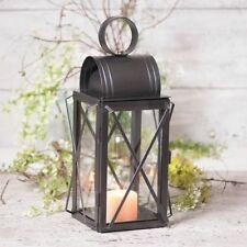 PILGRIM Candle lantern with Glass in Smokey Black Tin