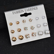 9 Pairs Women GOLD Ball Pearl Earring Set Rhinestone Crystal Ear Stud Jewelry
