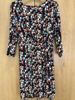 TU Dress Size 18 Bright Orange, Blue, White 3/4 Sleeved Knee Length Tie Waist