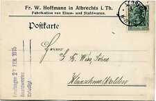 Carte Empire Allemand Fr W Hoffmann Albrecht i Th après Schmalkalden 1915 KA112