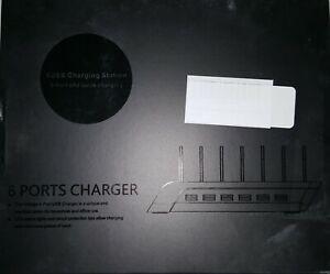 Fast Charging 6 USB Ports Charging Station Dock  (BLACK)