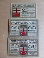 3 x Notgeld ville honneur Large Pierre sur le Rhin, 1 x 25 - 2 x 50 Pf, 03.08.1921,