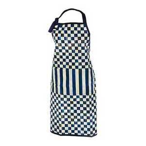 Mackenzie-Childs Royal Check Bistro Apron Blue/White stripes checkered  gift