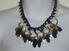 Banana Republic Charm Link Chain Toggle Cream Black Gold Necklacet NWT $110