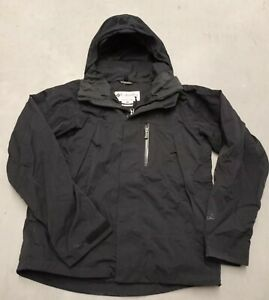 Mens COLUMBIA Tech Interchange Jacket Titanium Omni Tech Coat Black Size Medium