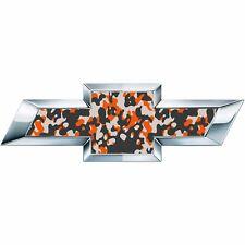 2 Orange Camo Universal Chevy Bowtie Vinyl Sheets Emblem Overlay