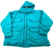 VTG Woolrich Waterproof Plaid Wool Lined Mens Parka Jacket USA XXL Teal Hooded