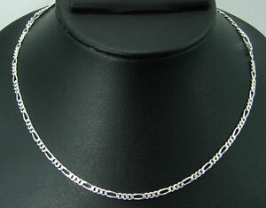 """925 Sterling Silver Men Gents Guy Figaro Chain Necklace 3.50 mm 24"""" for Gift-959"""