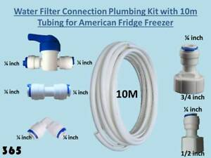 American Fridge Freezer Water Filter Connection Plumbing Kit with 10m Tubing 365