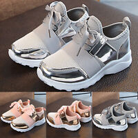 Children Boys Girls Mesh Breathable Sneakers Running Sports Gym  Elastic Shoes