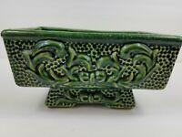"Vintage Dk Green Textured Pedestal Planter Heavy Ceramic Pottery Glazed 9""×6""×5"""