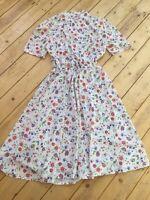 Vintage Retro 90s St Michael White Floral Midi Tea Dress  Sz 12 Garden Party