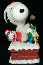Vintage Peanuts Snoopy Moving Christmas Santa With Gifts Musical Figure By UFS