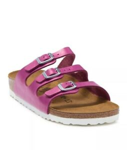 Size 6 / 37 Birkenstock Florida Magenta Haze Strappy Sandals Faux Leather