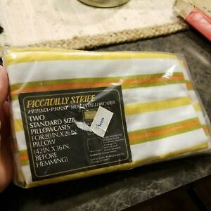 Pair of 2 Vintage 70's Yellow Green Orange Piccadilly Stripe Pillowcases SEARS