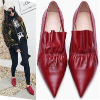 4db0a34283b Fashion Women Genuine Leather Point Toe Flats Slip On Oxfords Ankle Boots  Loafer