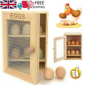 2 Tier Wooden Chicken Egg House Cupboard Cabinet 12 Eggs Rack Holder Storage UK