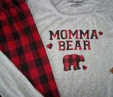 NWT Dearfoams Gray/Red/Black MOMMA BEAR Soft Pajama Set + Socks BUFFALO CHECK M