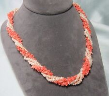 """Multi Strand Pin Coral & Freshwater Pearl Necklace w 14K Gold Clasp  17 3/4"""""""