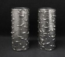PAIR OF SIGNED ERNST FRIES TEXTURED AUSTRALIAN HANDCRAFTED METAL VASES