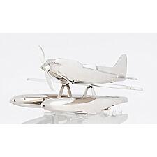"Seaplane Pontoon Float Plane Desktop Model 16.5"" Airplane Aluminum Chrome New"
