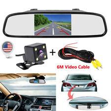 "4.3"" Car Rear View Monitor Mirror Backup Camera Kit Rearview System Night Vision"