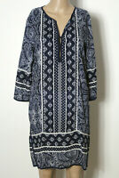 TOM TAILOR Kleid Gr. 36 blau-weiß knielang Langarm Ethno Muster Tunika Kleid