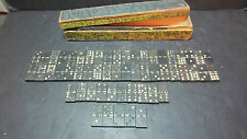 Vintage Wood Dominoes White Dots Shedding 55 Pieces in Old Floral Wood Box Worn