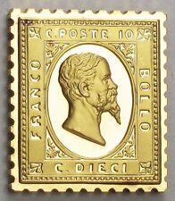 Italy 1862 Stamp 'King Victor Emmanuel II' 24K Gold on .925 Silver Bar +Paper
