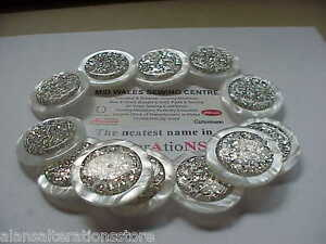 """12  X  1-1/2"""" PRETTY WHITE PEARL EFFECT SILVER FOIL DISC SHANKED BUTTONS"""
