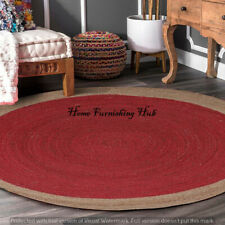 Handmade Braided Home Ft Reversible Indian Round-6 Jute Mat Floor Carpet Rag Rug