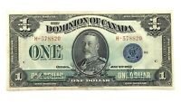 1923 One 1 Dollar Dominion Of Canada Prefix H Canadian Banknote L054