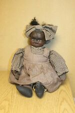 """African American Folk Art Primitive Carved Wood Black Doll Marked AA Wooden 20"""""""