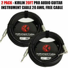 Kirlin 2 Pack 20ft Cable Right-Angle Electric Patch Cord Guitar + Free Cable Tie