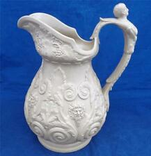 Antique Ridgway Stoneware High Relief Yellow Ware Pan & Bacchus Jug Pitcher 1830