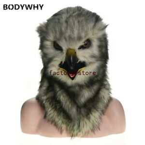 Grey owl Mascot Costume Can Move Mouth Head Suit Halloween Outfit Cosplay