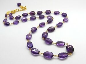 Natural Gemstone Amethyst Beaded Necklace 22K Gold Rosary Chain 18 Inch Long