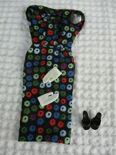 Early 60s vintage Barbie Apple Print Sheath Dress black mules gloves #917 NICE