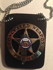 GOLD CONCEALED WEAPONS PERMIT BADGE W/ LEATHER & NECK CHAIN S&W GLOCK SIG RUGER
