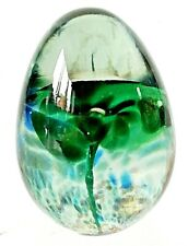 UNUSUAL GLASS PAPERWEIGHT GREEN ORCHID DOME BULLET